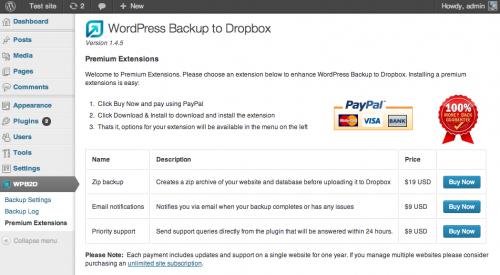 Dropbox plugins for WordPress